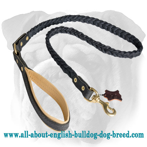 Stylish and Comfortable Braided Leather Leash for English Bulldog