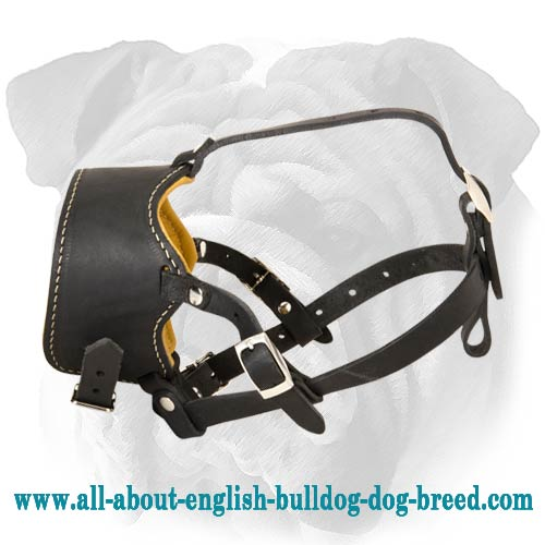Adjustable Soft Bark Control Leather English Bulldog Muzzle