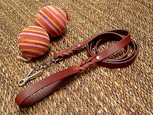Handcrafted leather dog  leash with quick release snap hook for English Bulldog