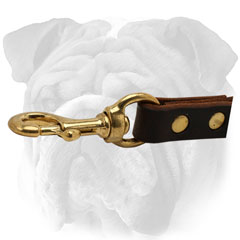 Brown English Bulldog leash with brass snap hook