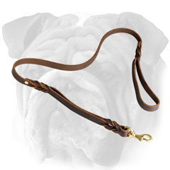 Stylish leather English Bulldog leash with braids
