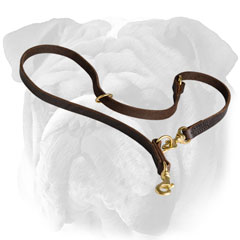 Leather English Bulldog Lead with O-Ring